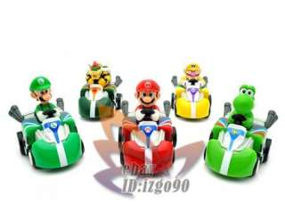 Super Mario New Pull Back Car Kart Figure 5PCS MS557