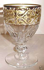 Baccarat Byzance American Water Goblet #1 Gold Rimmed New