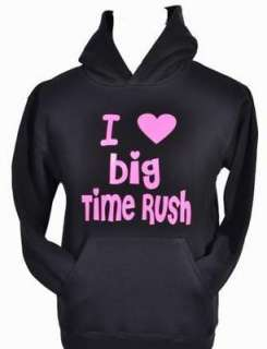 LOVE BIG TIME RUSH BLACK HOODIE in BRIGHT PINK 5 15