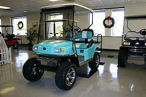 EZGO ELECTRIC GOLF CART ST CUSTOM LIFT 4 SEATER TURQUOISE & WHITE NEW