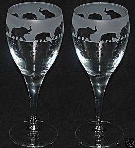 FAB WINE GLASS GIFT SET (PAIR) with ELEPHANT DESIGN