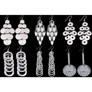 wholesale lot 6 pair silver plated circle leaf chandelier dangle