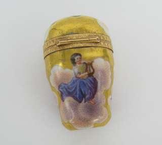 1900s Antique Enamel Clouds & Figures Solid Gold Pill Box Thimble