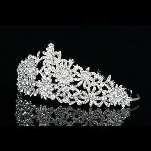 Pageant Rhinestone Crystal Flower Wedding Crown Tiara 7764