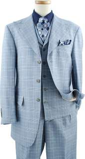 Masteloni Collection Sky Blue / White / Navy Blue Plaid Super 150S