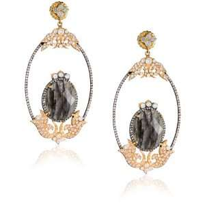 Sara Weinstock French Lace Labradorite Gold Earrings