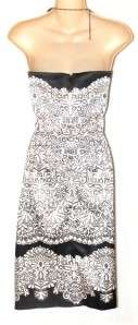 White House Black Market Strapless Lace Print Cocktail Dress 14 NWT