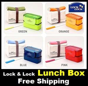 Lock & Lock Lunch Box SET Chopsticks   Blue,Red,Green,Orange color