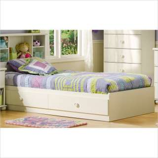 Castle Twin Mates Storage Bed Frame Only in Pure White Finish [151532