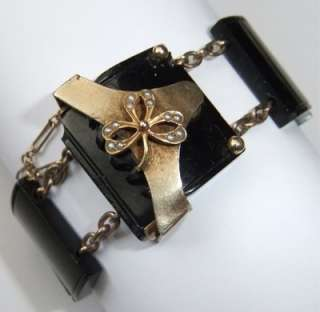 RARE ANTIQUE VICTORIAN WHITBY JET 9K GOLD SEED PEARL MOURNING BRACELET