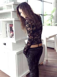 Lady Sexy Slim plice Lace O neck Long Sleeve Tops T shirt 8743