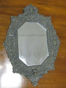 ANTIQUE BEAUX ARTS CAST IRON WALL MIRROR   ANGEL, LION & BEVELED GLASS