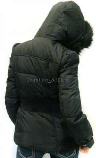 NWT JUICY COUTURE BLACK FAUX FUR HOODIE RUFFLE DOWN PUFFER WINTER
