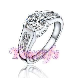 18K White Gold GP 1.5Ct Swarovski Crystal Emulational Diamond wedding