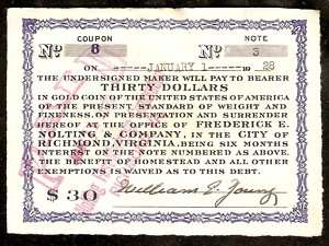 1924 GOLD Certificate BOND Coupon NOTE Richmond VA #3