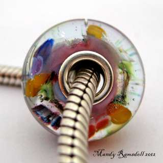 PANSY MEDLEY artisan sterling silver core european charm lampwork