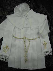 NEW boy baptism WHITE gown with hat stole gold z:0;1;2