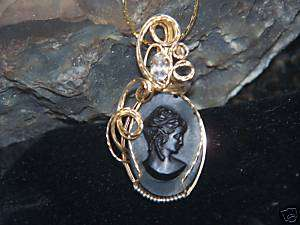 VINTAGE MOURNING CAMEO & TOPAZ PENDANT 14KGF WIRE WRAP~ |
