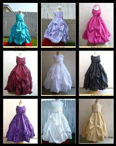 FLOWER GIRL DRESS BLACK PO1 + SASH COLOR SZ 2 to 10