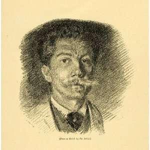 1887 Wood Engraving Emile Wauters Self Portrait Artist