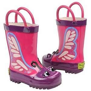 Western Chief Kids Butterfly pink & Purple Rain Boots Girls Multiple