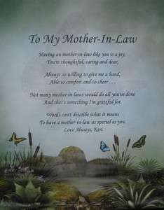 TO MY MOTHER IN LAW PERSONALIZED POEM BIRTHDAY OR CHRISTMAS GIFT