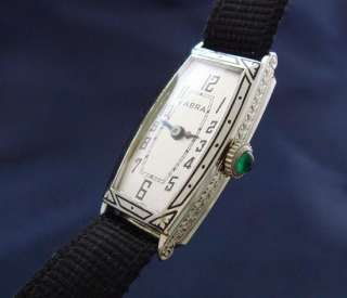 LOVELY Ladies 18k White Gold Abra Wire Lug Watch   SERVICED