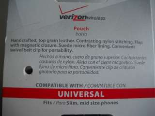 VERIZON WIRELESS LEATHER PHONE POUCH CASE BLACK SWIVEL