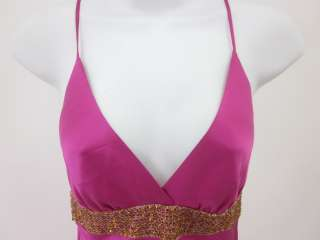 JULIE BROWN Hot Pink Silk Spaghetti Strap Dress Size P