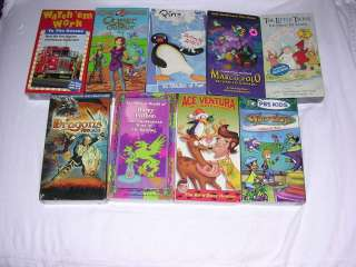 Mixed Lot of 9 NEW Childrens VHS Videos Kids Movies