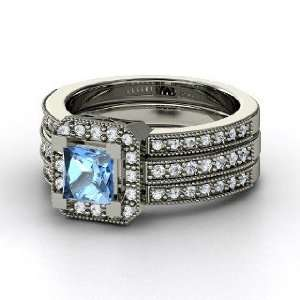 Va Voom Ring, Princess Blue Topaz 14K White Gold Ring with