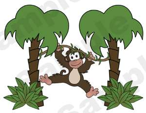 BROWN MONKEYS JUNGLE SAFARI THEME PALM TREES GRASS WALL ART STICKERS