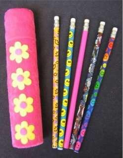 GIRLS GIFT Flower Power Pencil Case w/ Pencils Pink