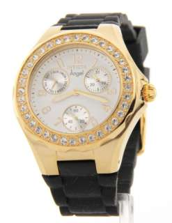 Invicta Womens Crystal Bezel Angel Polished Steel 3 Eye Day Date