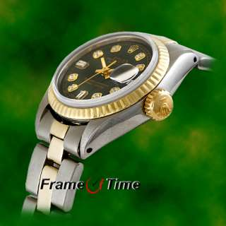 ROLEX Ladies Gold Oyster Datejust Black Diamond Watch