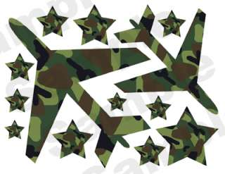 CAMO ARMY HUNTING LEAVES LEAF BOY WALL STICKERS DECALS