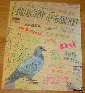 ELLIOTT SMITH concert gig poster 11 3 03 Los Angeles