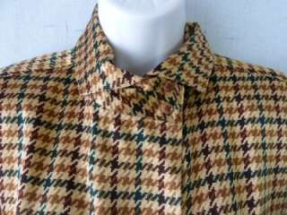 Ellen Tracy/Linda Allard SILK Fall Houndstooth Blouse~Vtg Couture