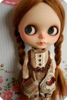 Neo Blythe doll reroot brown suri alpaca mohair  Rose Garden