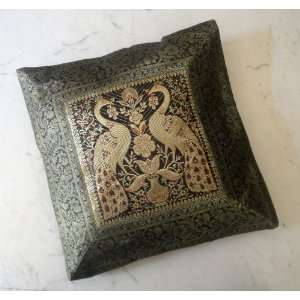 Pillow Throw Cover Golden Banarasi Brocade Work
