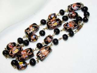 Vintage Venetian Wedding Cake Glass Bead Necklace 19.5
