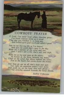 Linen PostcardCowboys Prayer PoemCattleCowboy & Horse