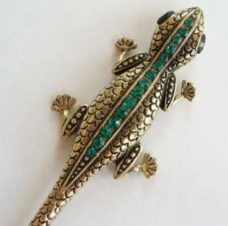 VARY COLORS SWAROVSKI CRYSTAL LIZARD GECKO HAIR STICK PIN PICK 556