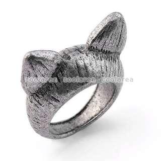 Vintage Ancient Tibetan Silver Tone Wild Cat Ear Ring S6 Punk Gothic
