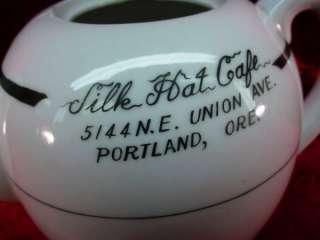 Vintage 50s DINER TEAPOT Portland Oregon SILK HAT CAFE