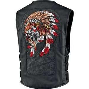 Icon Regulator Chieftain Mens Leather Street Motorcycle Vest   Black