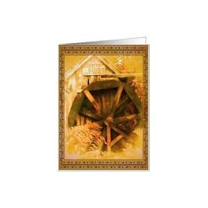 Country Cider Mill Water Wheel Blank Note Card Card