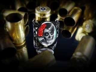 Girl Dia De Los Muertos Halloween Adjustable Black Ring 74 ARB