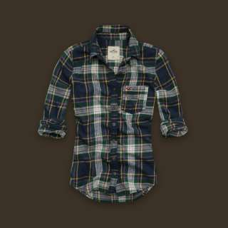 Hollister Womens Arch Bay Plaid Flannel Shirt Multi Sz