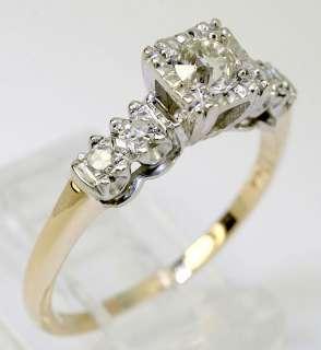 EUROPEAN CUT 5 RND DIAMOND 14K TWO TONE GOLD ENGAGEMENT RING